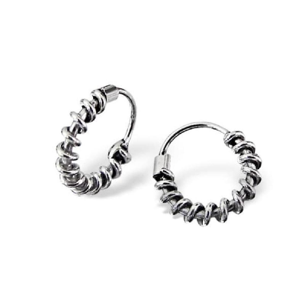 Boucles d'oreilles Créoles Bali 10 mm Argent 925