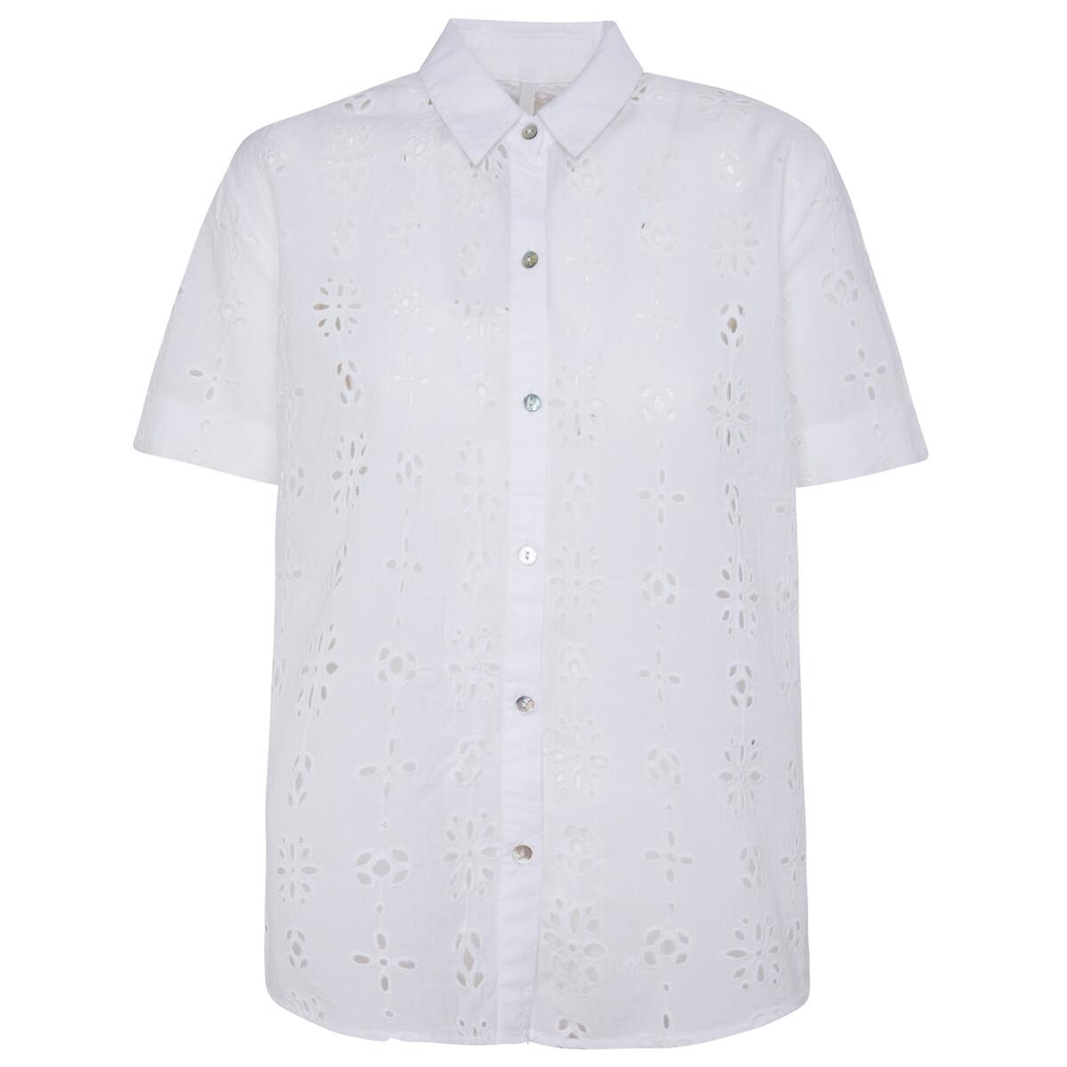 Camisa de manga corta con bordado inglés