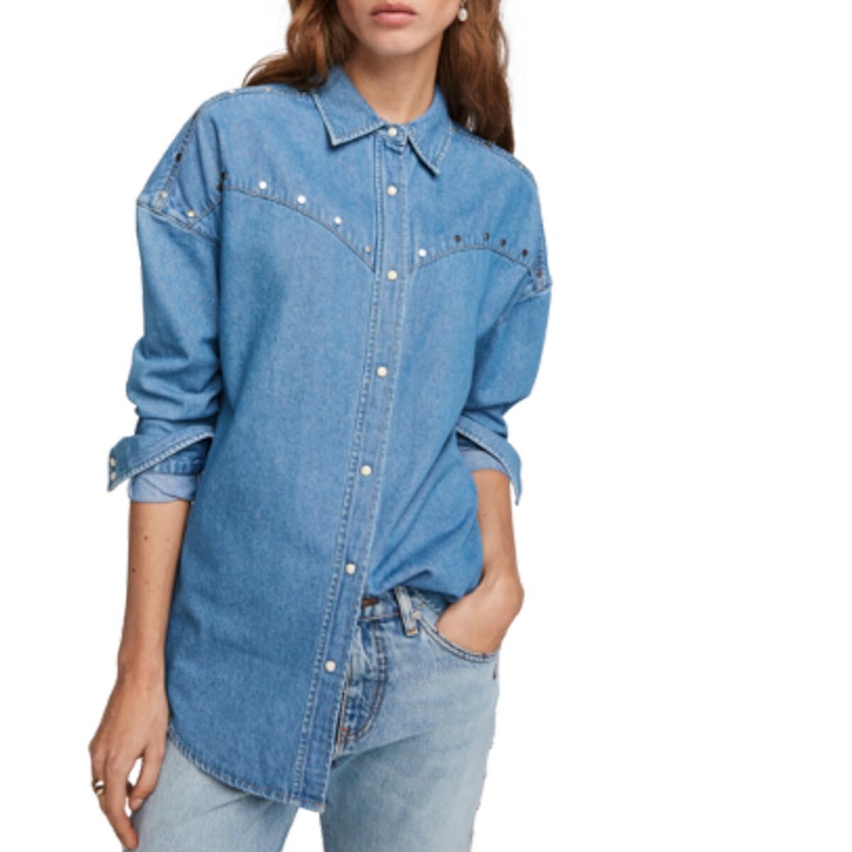 Рубашка La Redoute Из денима с длинными рукавами S синий цена 2017