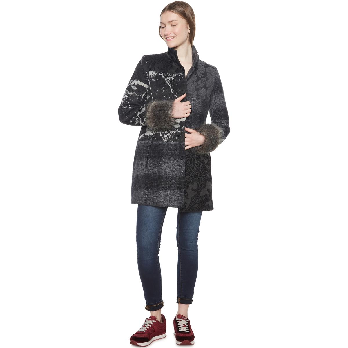 Пальто средней длины в стиле пэчворк из полушерстяной ткани