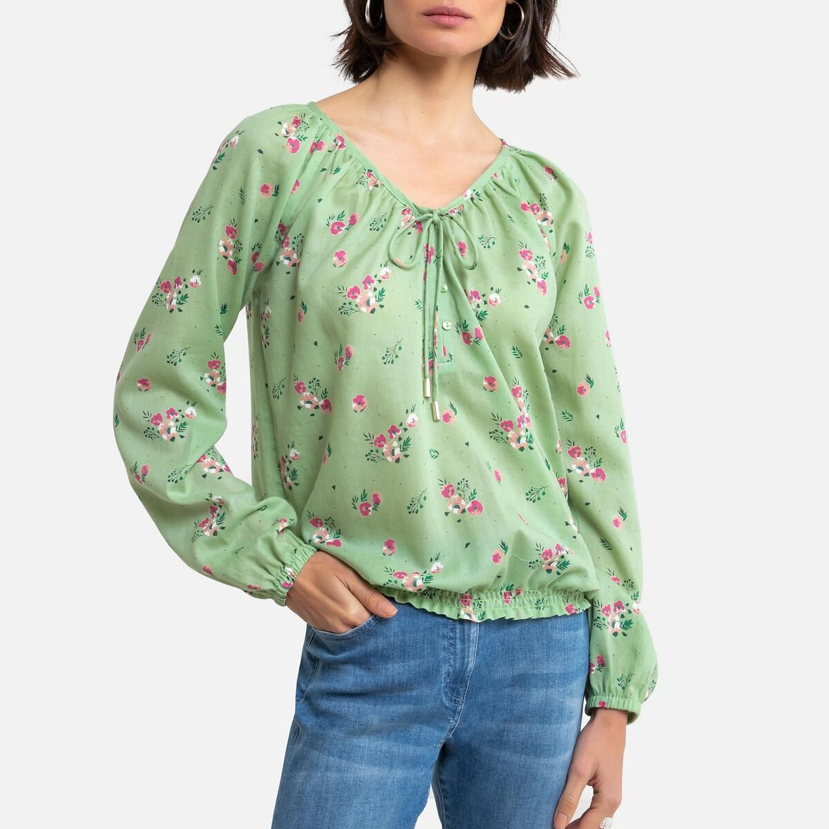 Blusa com estampado floral, mangas compridas