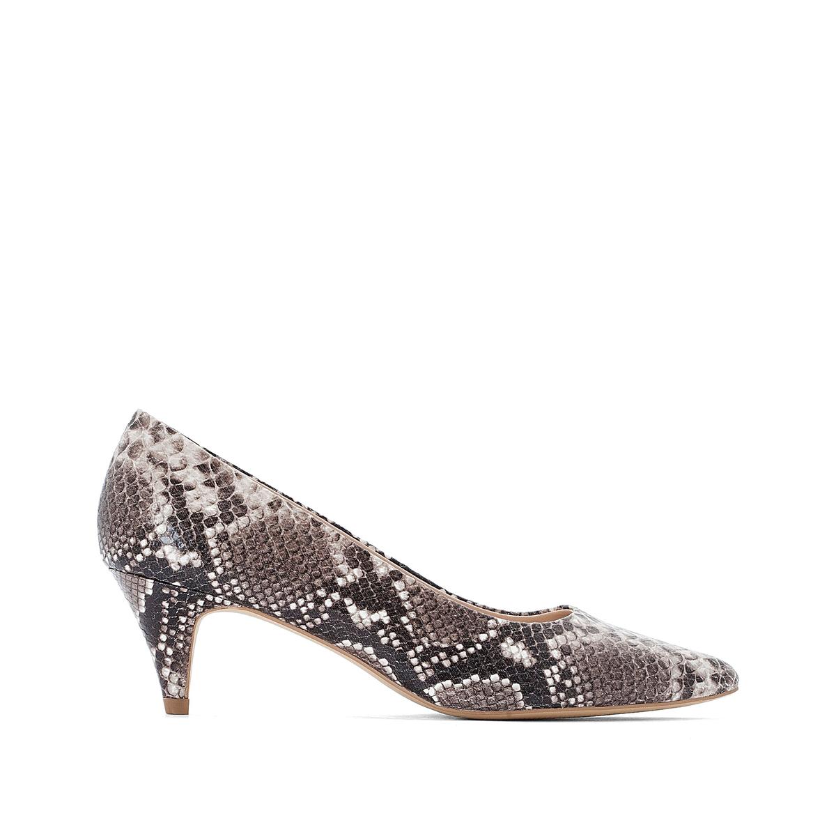 Туфли La Redoute На среднем каблуке с питоновым принтом 40 каштановый туфли indiana туфли на среднем каблуке