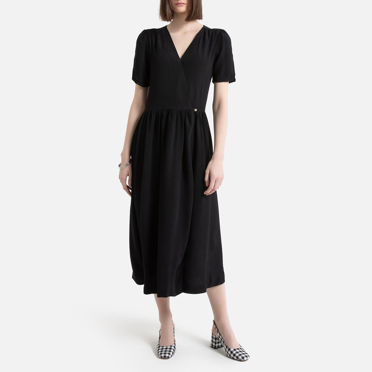Платье La Redoute Длинное с запахом с короткими рукавами 44 (FR) - 50 (RUS) черный