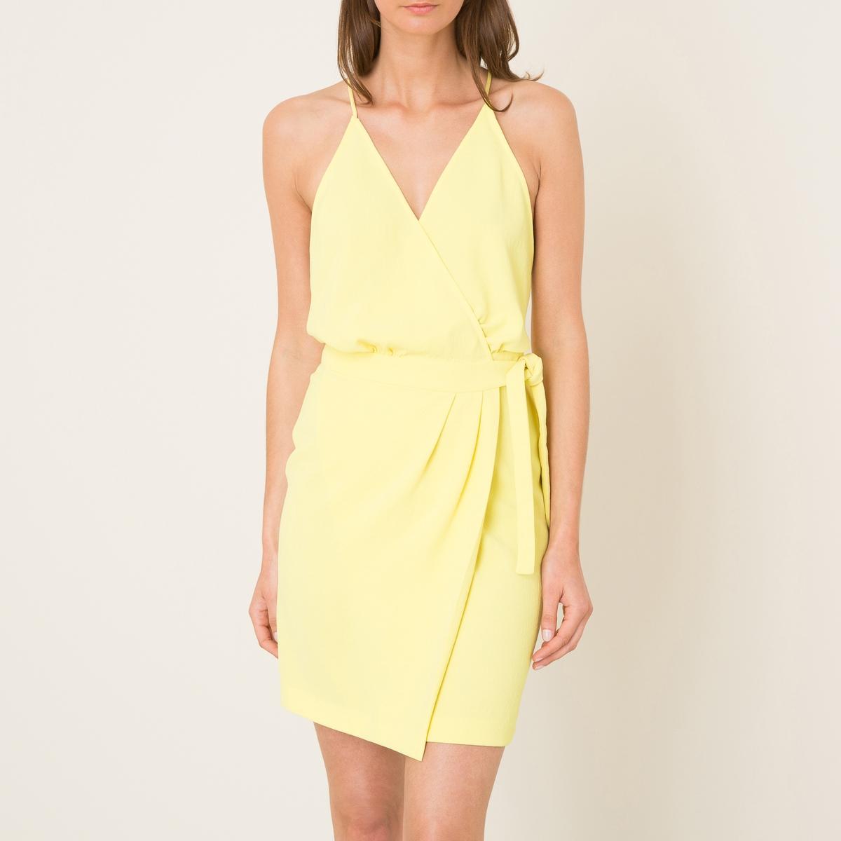 Платье JUSTINEПлатье короткое BA&amp;SH - модель JUSTINE из вуали. Покрой с нахлестом. V-образный вырез. Тонкие перекрещенные бретели . Завязки на поясе.Состав и описание    Материал : 100% полиэстер   Марка : BA&amp;SH<br><br>Цвет: желтый