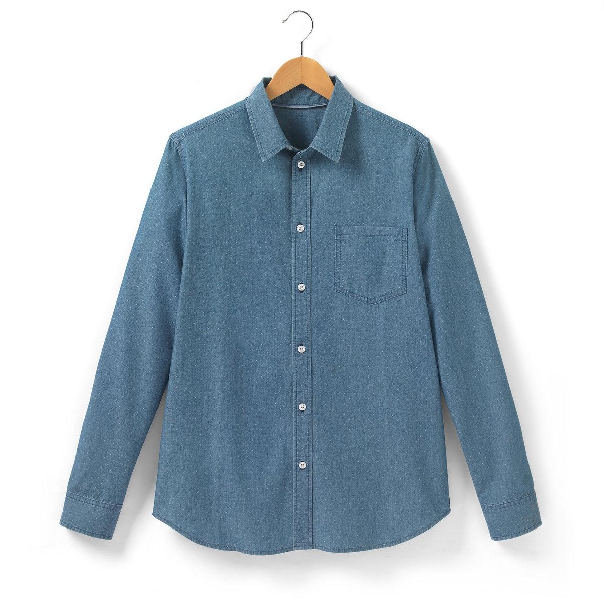 Рубашка из денимаРубашка из денима с рисунком и длинными рукавами SOFT GREY. Свободные края воротника. 1 накладной нагрудный карман. Застежка на пуговицы. Манжеты с застежкой на пуговицы. Длина 77 см. Рубашка, 100% хлопка.<br><br>Цвет: деним с рисунком<br>Размер: 41/42