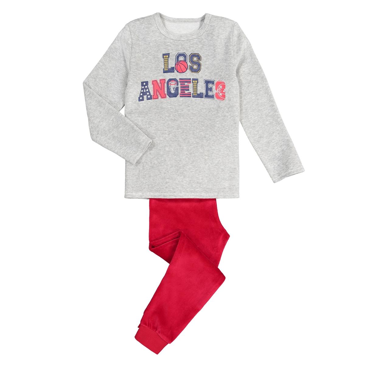 Пижама La Redoute Велюровая с надписью Los Angeles 5 лет - 108 см серый кроссовки детские adidas originals los angeles цвет синий серый s74877 размер 2 21 5