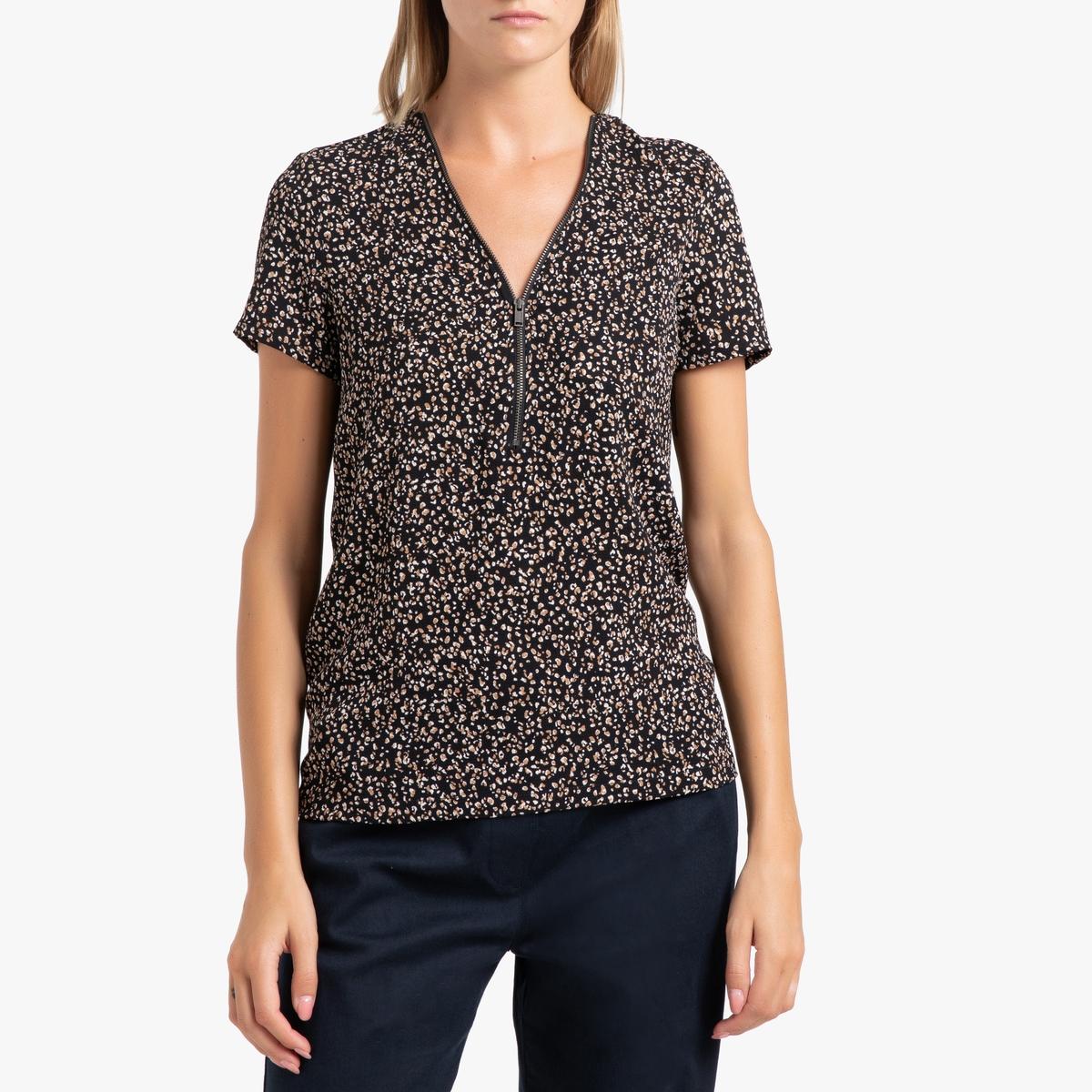 Блузка La Redoute С рисунком V-образным вырезом и короткими рукавами 38 (FR) - 44 (RUS) черный недорого