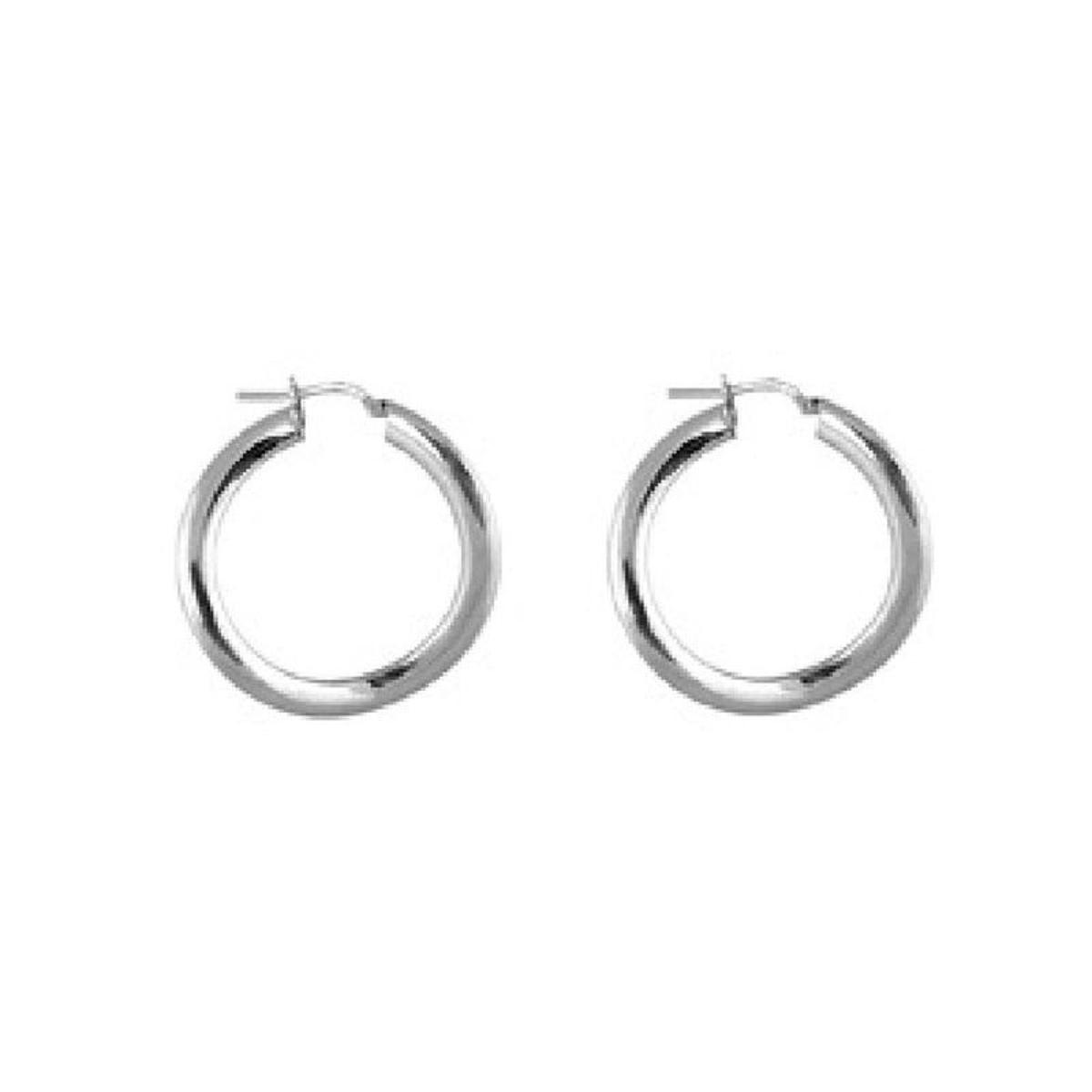 Boucles d'oreilles Créoles 30 mm Ondulées Fil Plat Argent 925