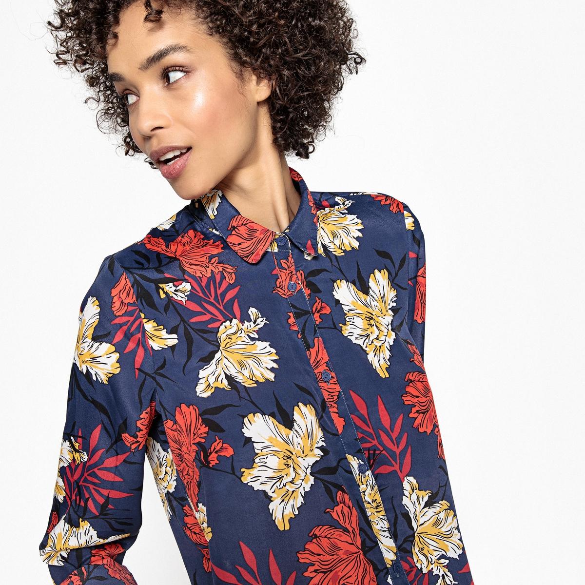 Camisa vaporosa de manga larga, estampado de flores