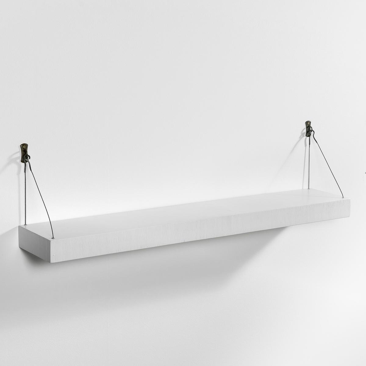 Полка настенная Дл. 110 см, RootsХарактеристики:- Столешница из мультиплекса (для большей легкости), отделка под старину.- Крепление на металлических тросиках и 2 скобках на стену.Размеры:- 110 x 20 см.- Длина тросика 26 см спереди (20 см сзади).- Толщина столешницы 6,5 см<br><br>Цвет: белый,серо-бежевый<br>Размер: единый размер