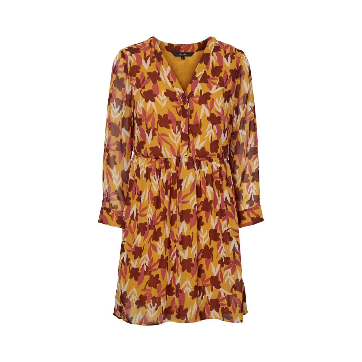 Платье La Redoute Расклешенное с цветочным принтом и V-образным вырезом XS желтый кеды сникеры la redoute с крокодиловым принтом 38 желтый