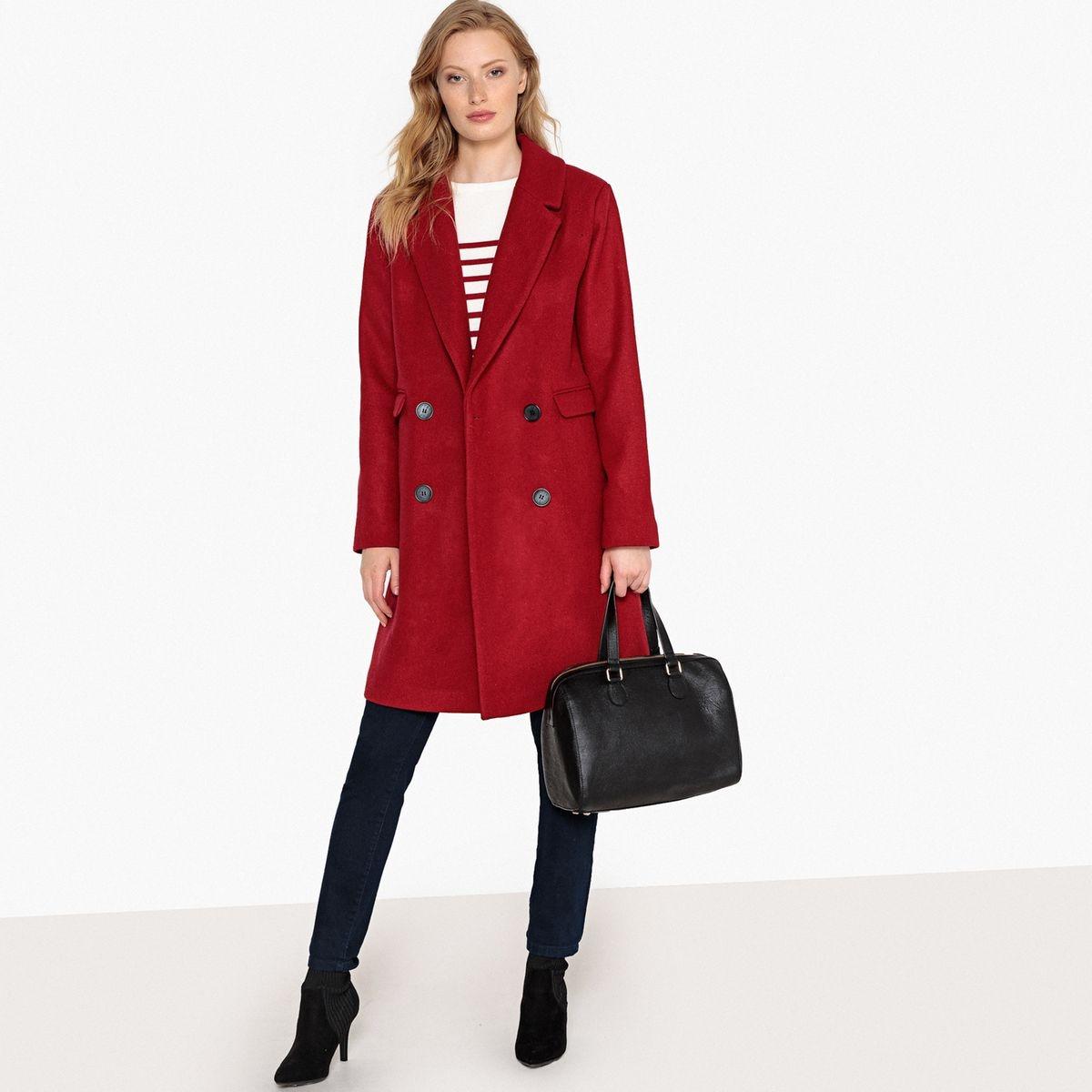 Manteau masculin mi-long en laine mélangée