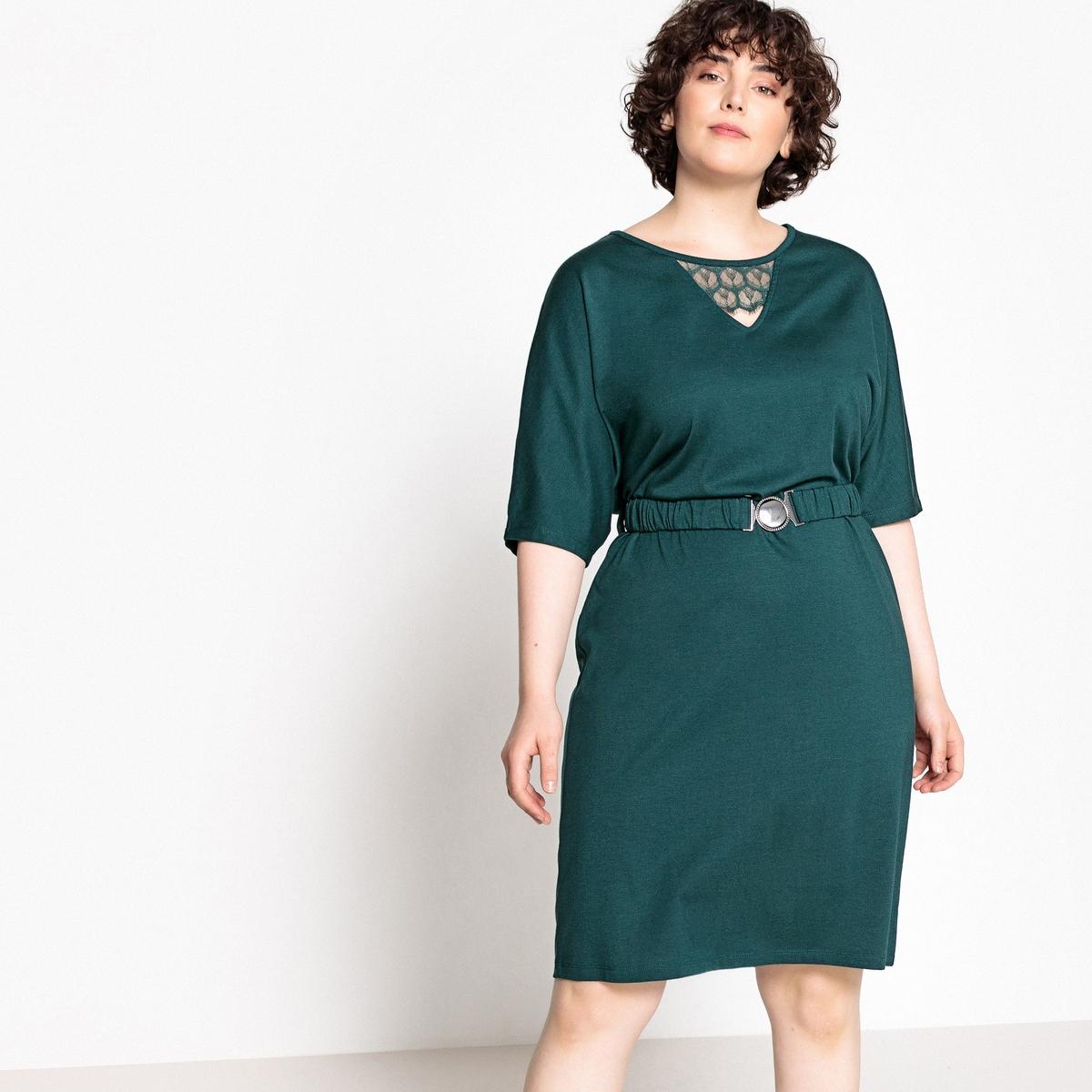 Платье La Redoute Прямое средней длины с ремешком вставки из кружева 52 (FR) - 58 (RUS) зеленый жакет la redoute из хлопка с карманами 52 fr 58 rus зеленый