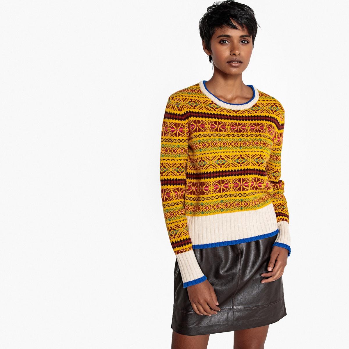 Пуловер жаккардовый с круглым вырезом La Redoute Collections