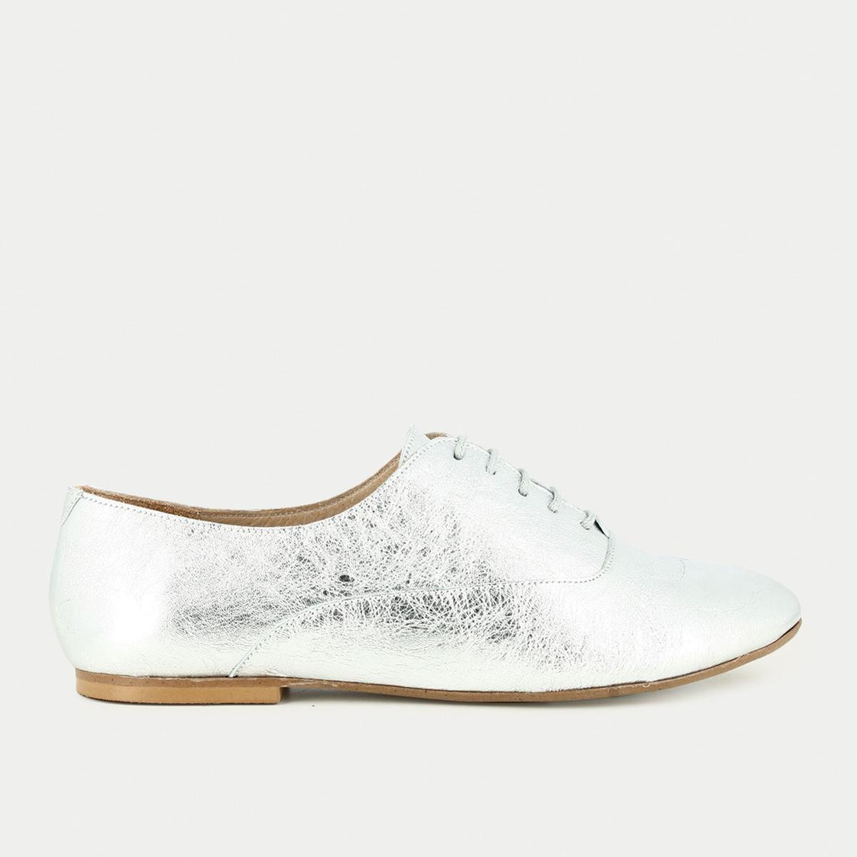 Ботинки-дерби из блестящей кожи на шнуровке