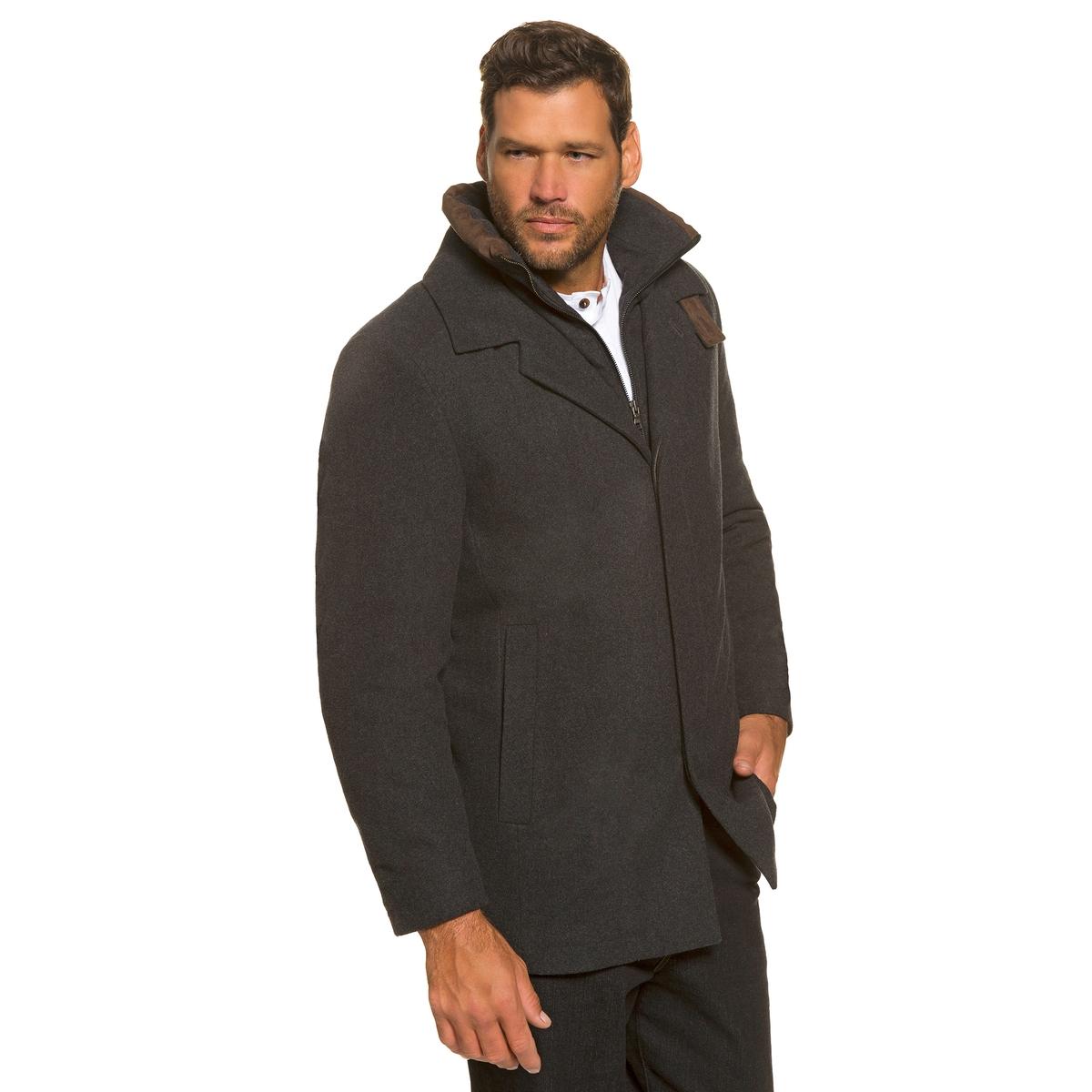 Пальто 50% шерстиПальто из шерсти и настоящего кашемира  ! Первоклассный дизайн, функциональное пальто со встроенным жилетом . Воротник на подкладке, вставки под кожу, невидимая застежка на молнию . 2 нагрудных кармана, 2 сдвоенных кармана . Длина спинки ок. 84 - 93 см .<br><br>Цвет: антрацит<br>Размер: 7XL