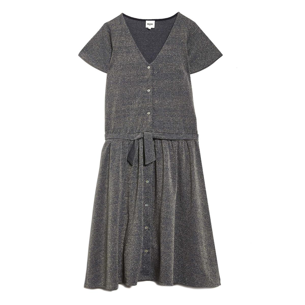 Платье на пуговицах NUIT DIVRESSEОписание:Платье на пуговицах с короткими рукавами BLUNE - модель NUIT DIVRESSE. Завязки на поясе на расклешённом покрое.Детали •  Форма : расклешенная •  Длина до колен •  Короткие рукава    •   V-образный вырезСостав и уход •  33% вискозы, 3% эластана, 35% металлизированных волокон, 29% полиэстера •  Следуйте советам по уходу, указанным на этикетке<br><br>Цвет: серебристый