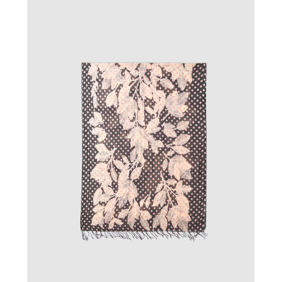 Foulard  à motif et feuilles effet contrastant