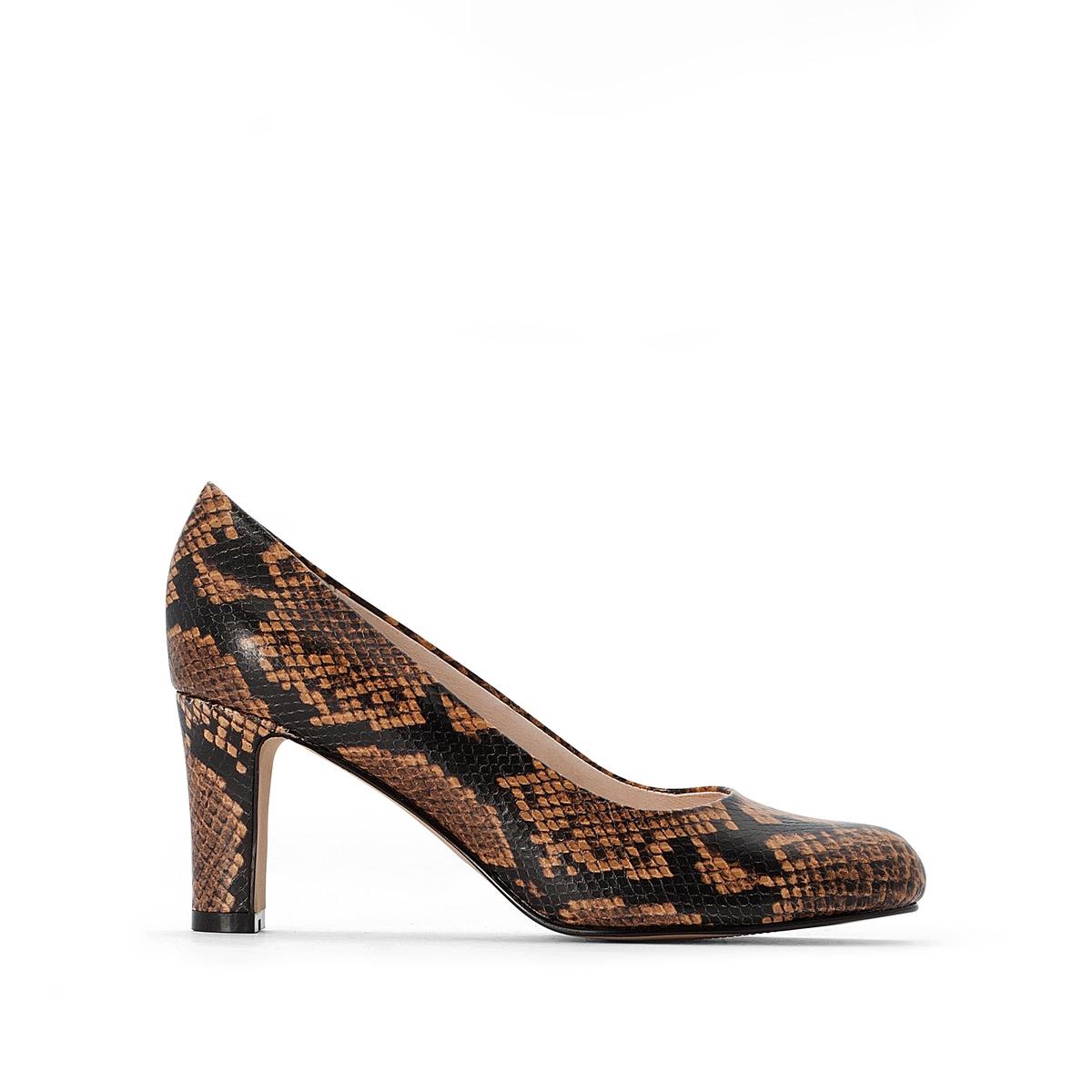 Туфли La Redoute На каблуке с питоновым принтом 35 бежевый туфли la redoute на среднем каблуке с питоновым принтом 36 каштановый