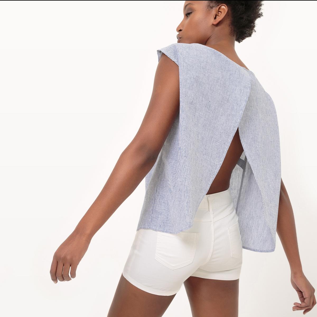 Блузка прямого покроя, открытая спинка