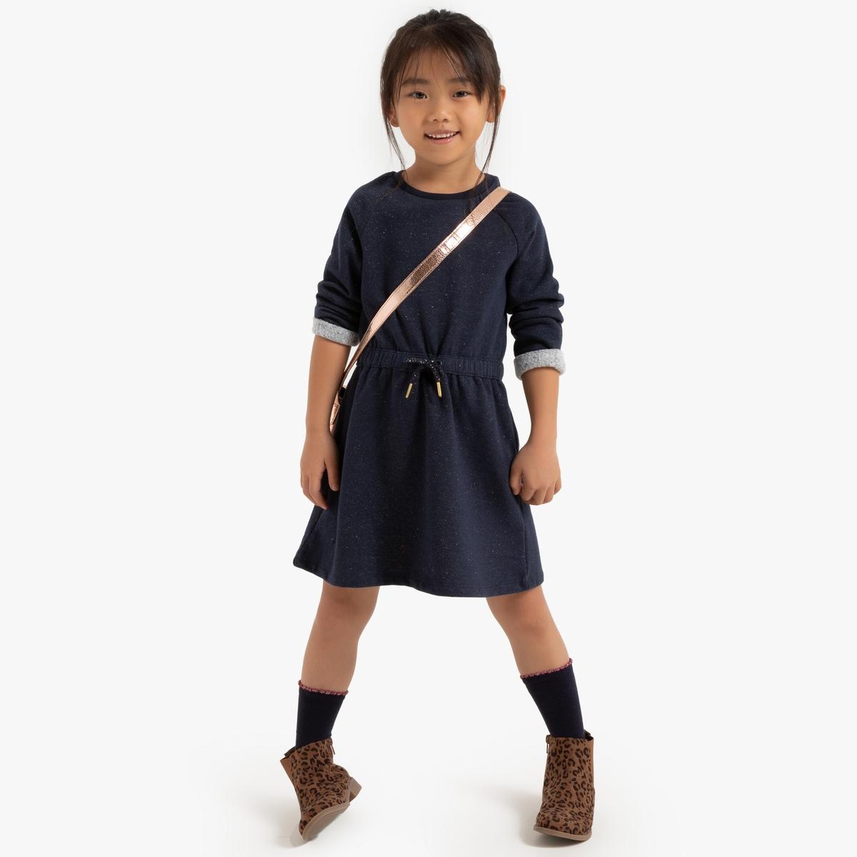 Платье La Redoute С длинными рукавами из мольтона 6 лет - 114 см синий полосатые la redoute шорты от до лет 6 лет 114 см синий