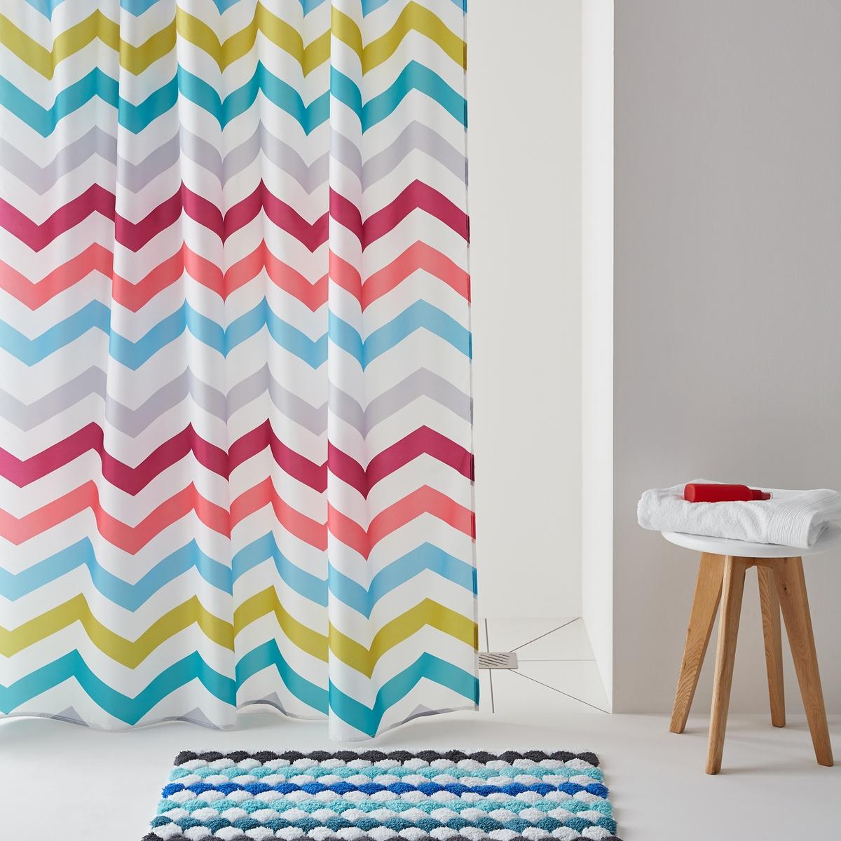 Разноцветная штора для душа с рисунком ZIGZAGРазноцветная штора для душа с рисунком ZIGZAG.Штора для душа сверкающей расцветки с бодрящим графичным рисунком! Можно комбинировать с ковриком для ванны, представленным на сайте.  Характеристикишторы:Материал:  100% полиэстер.Утяжеленный низ для лучшего натяжения.С люверсами.Уход:Машинная стирка при 40°С.Размеры шторы:180 x 200 см.<br><br>Цвет: бирюзовый/ зеленый анис,синий/ зеленый