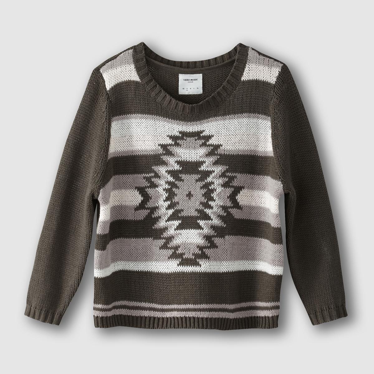 Пуловер с этническим орнаментом и круглым вырезом VERO MODA, VMjaneyСостав и описание :Материал : 60% хлопка, 40% акрила.Марка : VERO MODA.<br><br>Цвет: хаки