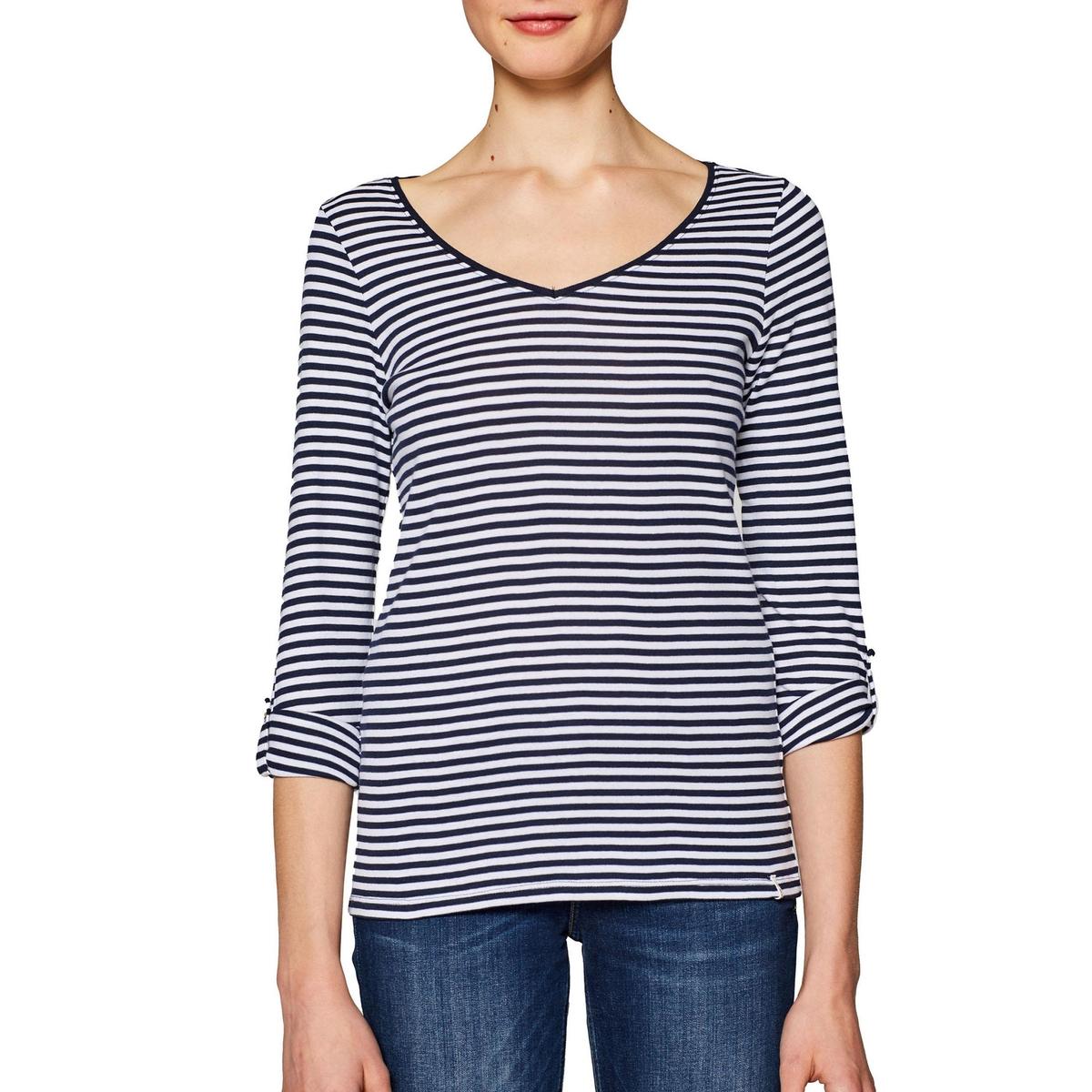 Camiseta a rayas de manga larga con cuello de pico