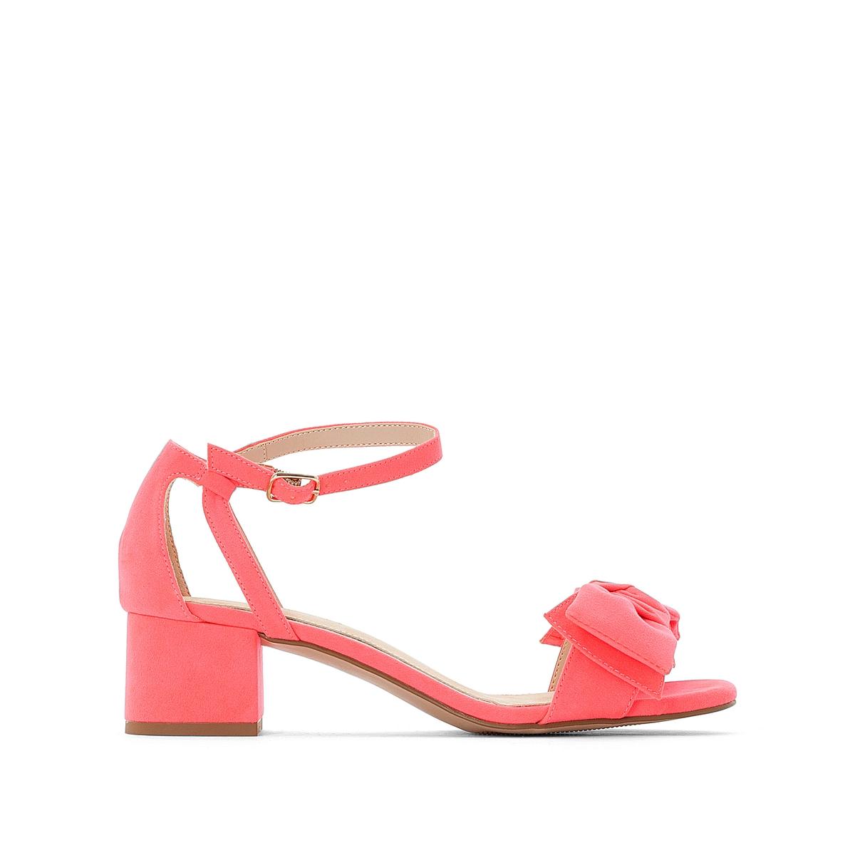 цена Босоножки La Redoute На широком каблуке с бантиком 36 розовый онлайн в 2017 году