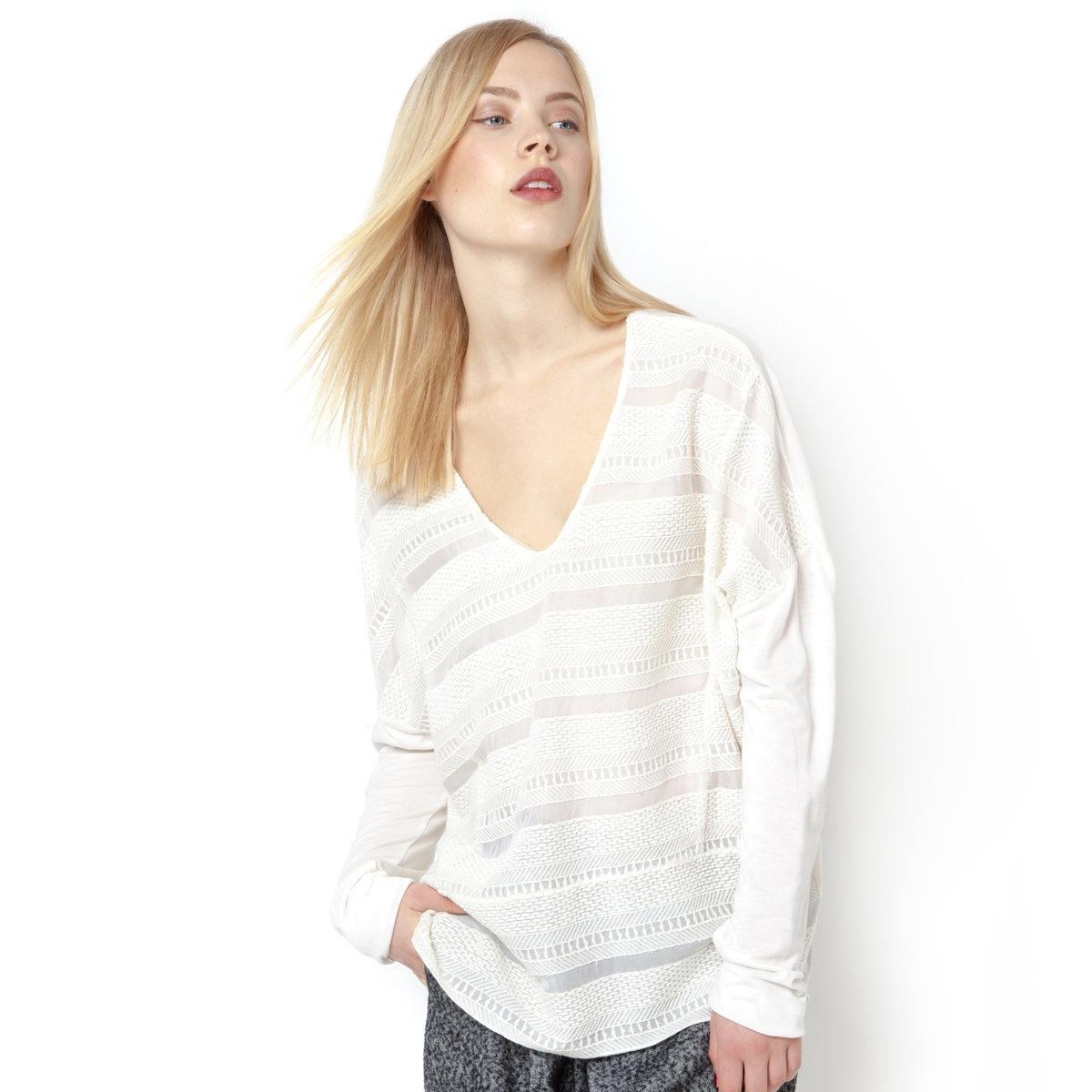 Блузка из ажурной ткани с длинными рукавамиБлузка из ажурной ткани - NOA NOA. Длинные рукава. V-образный вырез. Оригинальное сочетание полос ажурной ткани и вышивки спереди.100% вискозы.<br><br>Цвет: экрю<br>Размер: 38 (FR) - 44 (RUS)