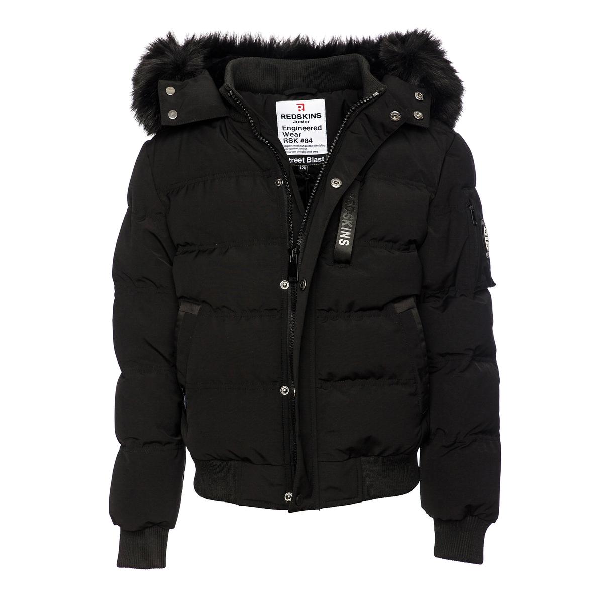 Куртка La Redoute Стеганая с капюшоном оторочкой из искусственного меха 10 лет - 138 см черный