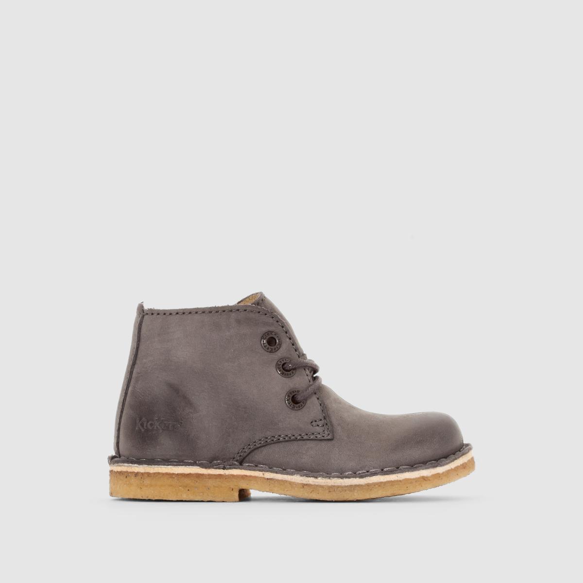 Ботинки цвета пустыни RealkizПодкладка: Неотделанная кожа     Стелька: Неотделанная кожа    Подошва: Креп     Высота каблука:  6 см.     Застежка: шнуровка.<br><br>Цвет: серый<br>Размер: 33.27