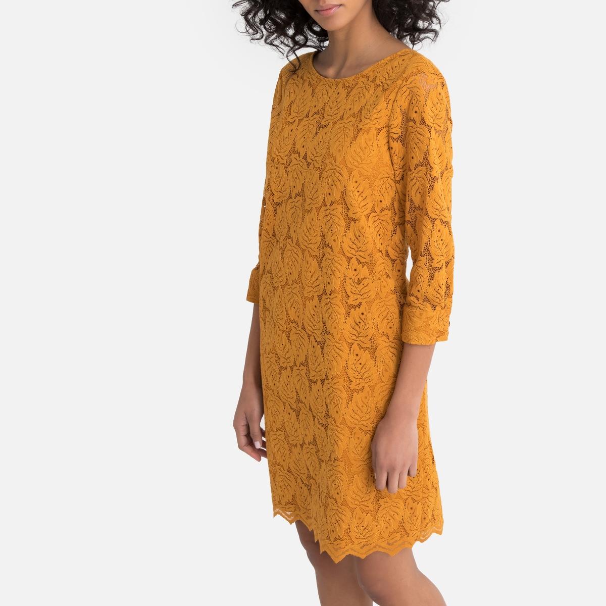 Платье La Redoute Короткое из гипюра с рукавами 36 (FR) - 42 (RUS) оранжевый короткое платье из гипюра american apparel
