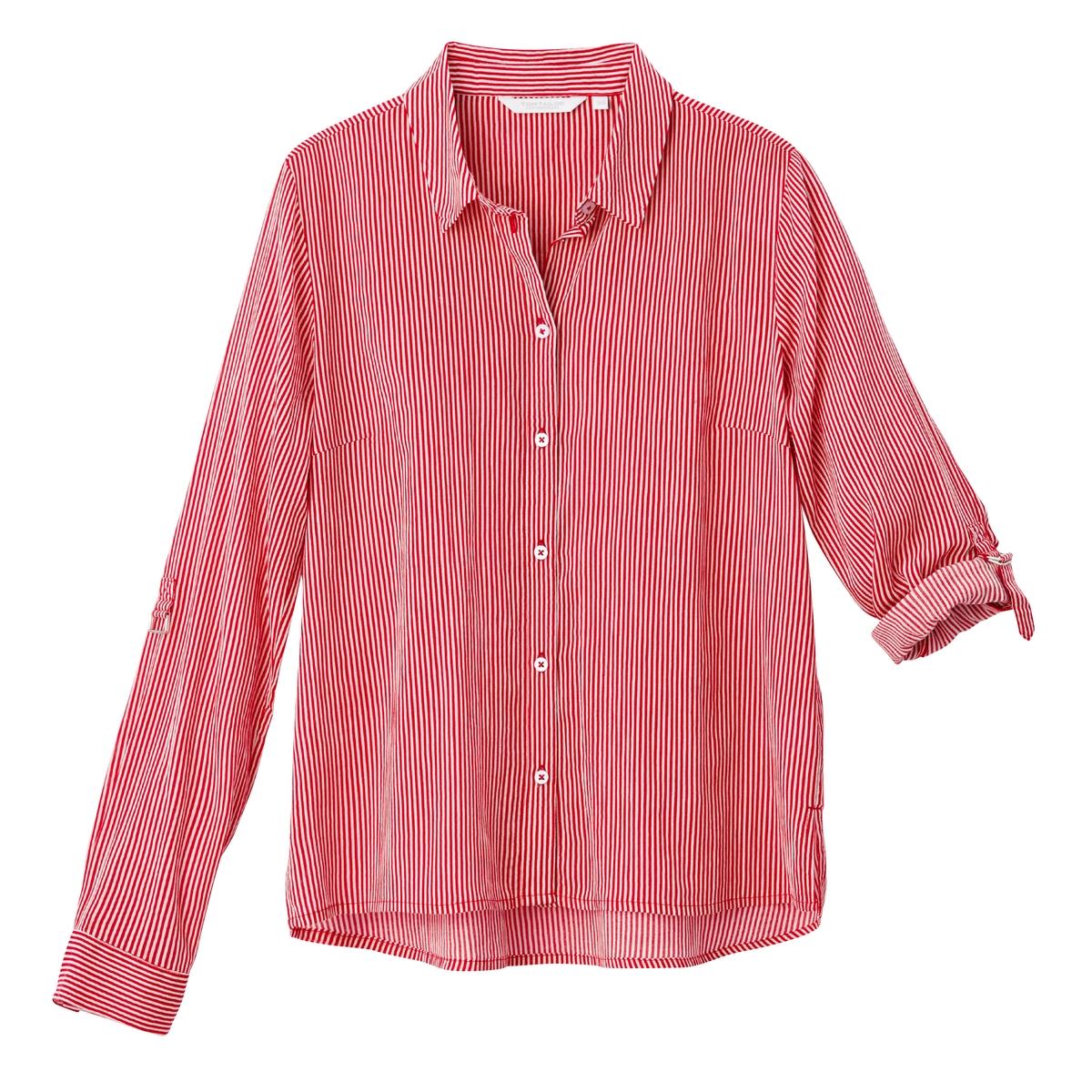 Блузка в полоску с длинными рукавами, 100% хлопок