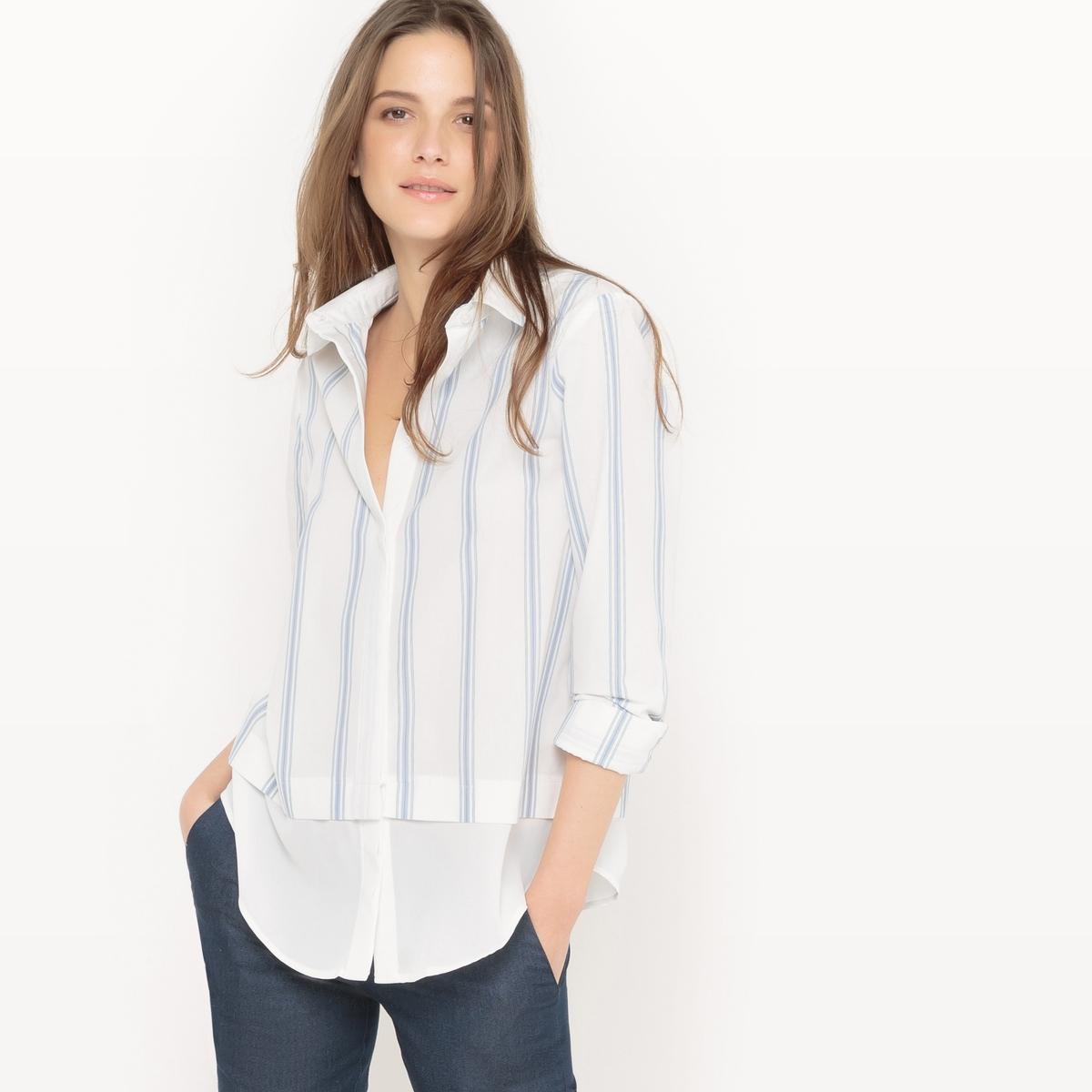 Рубашка асимметричная с длинными рукавами из хлопка