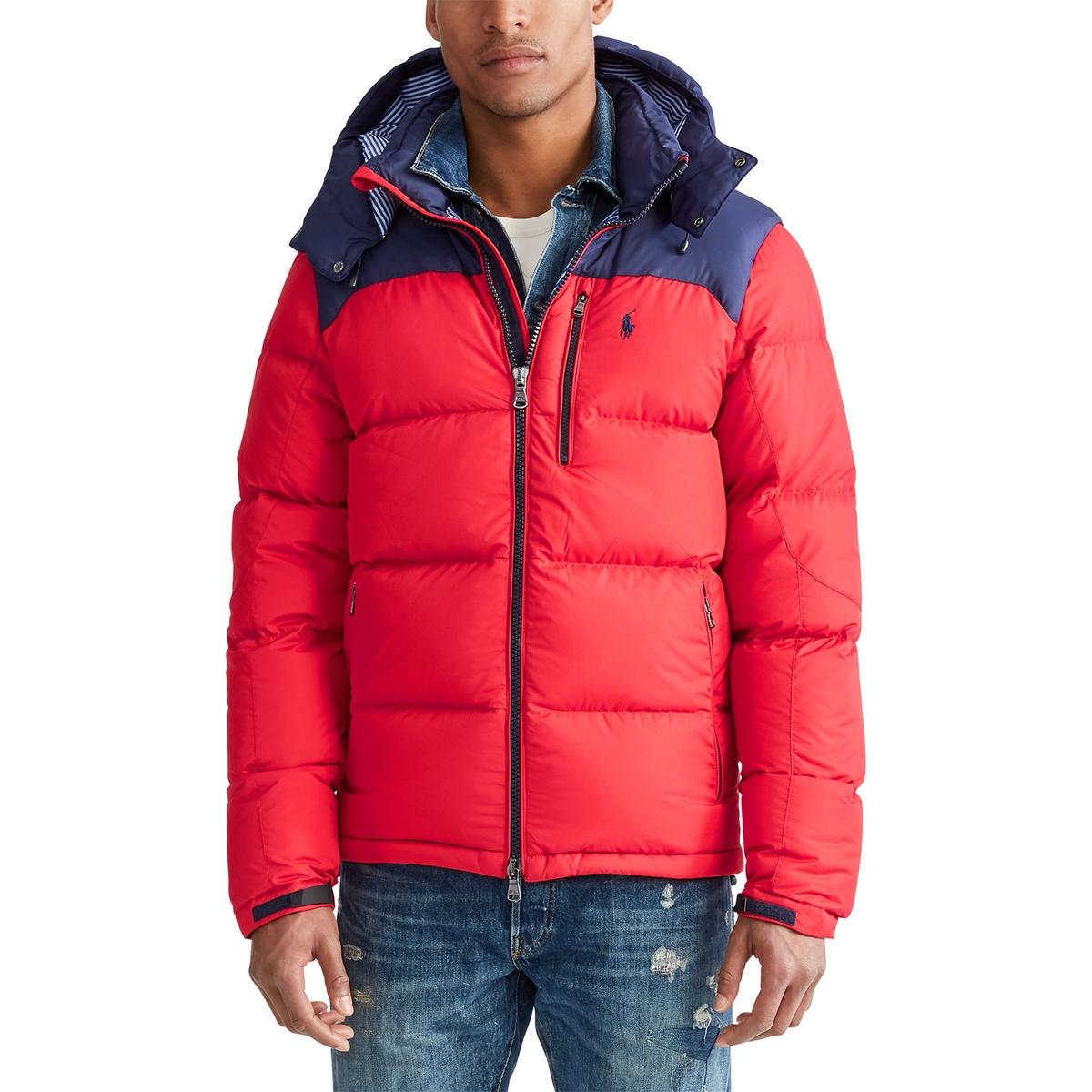 Куртка La Redoute Стеганая на молнии из двух материалов со съемным капюшоном L синий пуховая стеганая куртка с капюшоном