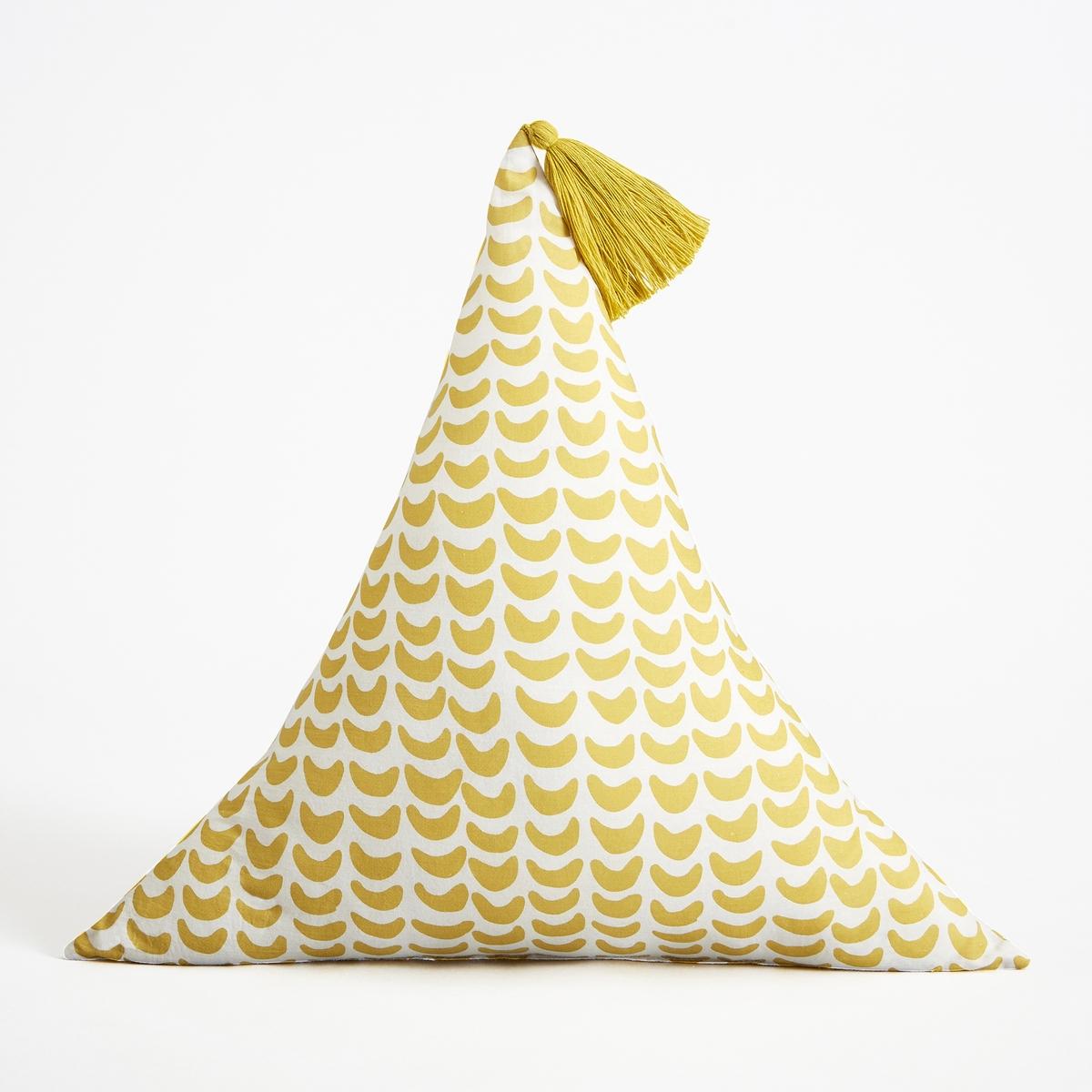 Подушка треугольная, OlayaХарактеристики: - Покрытие из 100% хлопковой вуали с рисунком- Наполнитель 100% полиэстер- Машинная стирка при 40 °C.Размеры  :- Ш.40 x В.40 x Г.40 см<br><br>Цвет: желтый,зеленый,розовый