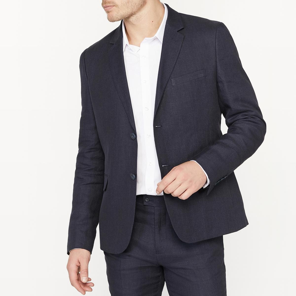 Пиджак костюмный узкого покроя из смесовой ткани из льна