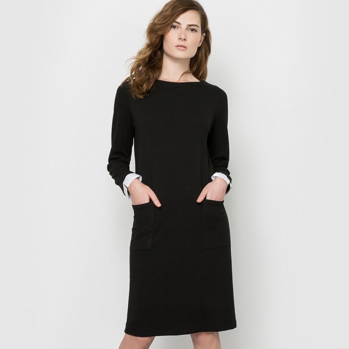 Платье-футляр из плотного трикотажаСостав и описаниеМатериал : платье, 70% вискозы, 25% полиэстера, 5% эластана - манжеты, 100% хлопокДлина : 90 смУходСледуйте рекомендациям по уходу, указанным на этикетке<br><br>Цвет: черный<br>Размер: 36 (FR) - 42 (RUS).38 (FR) - 44 (RUS).40 (FR) - 46 (RUS).42 (FR) - 48 (RUS).46 (FR) - 52 (RUS).50 (FR) - 56 (RUS)