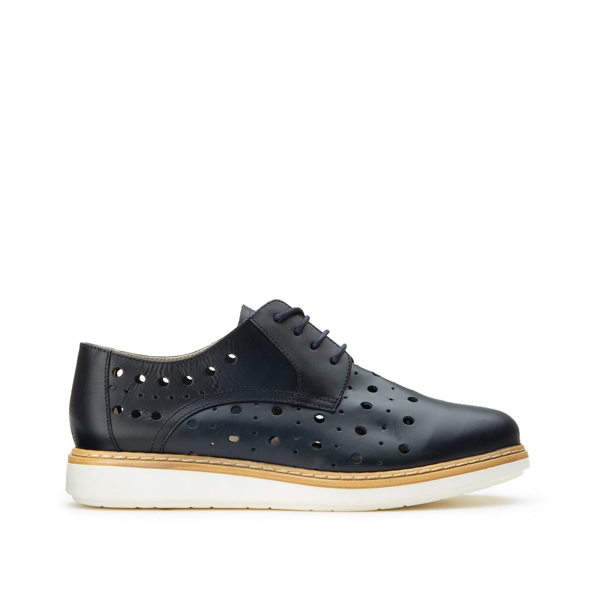 цена Ботинки-дерби La Redoute Кожаные на шнуровке 39 синий онлайн в 2017 году