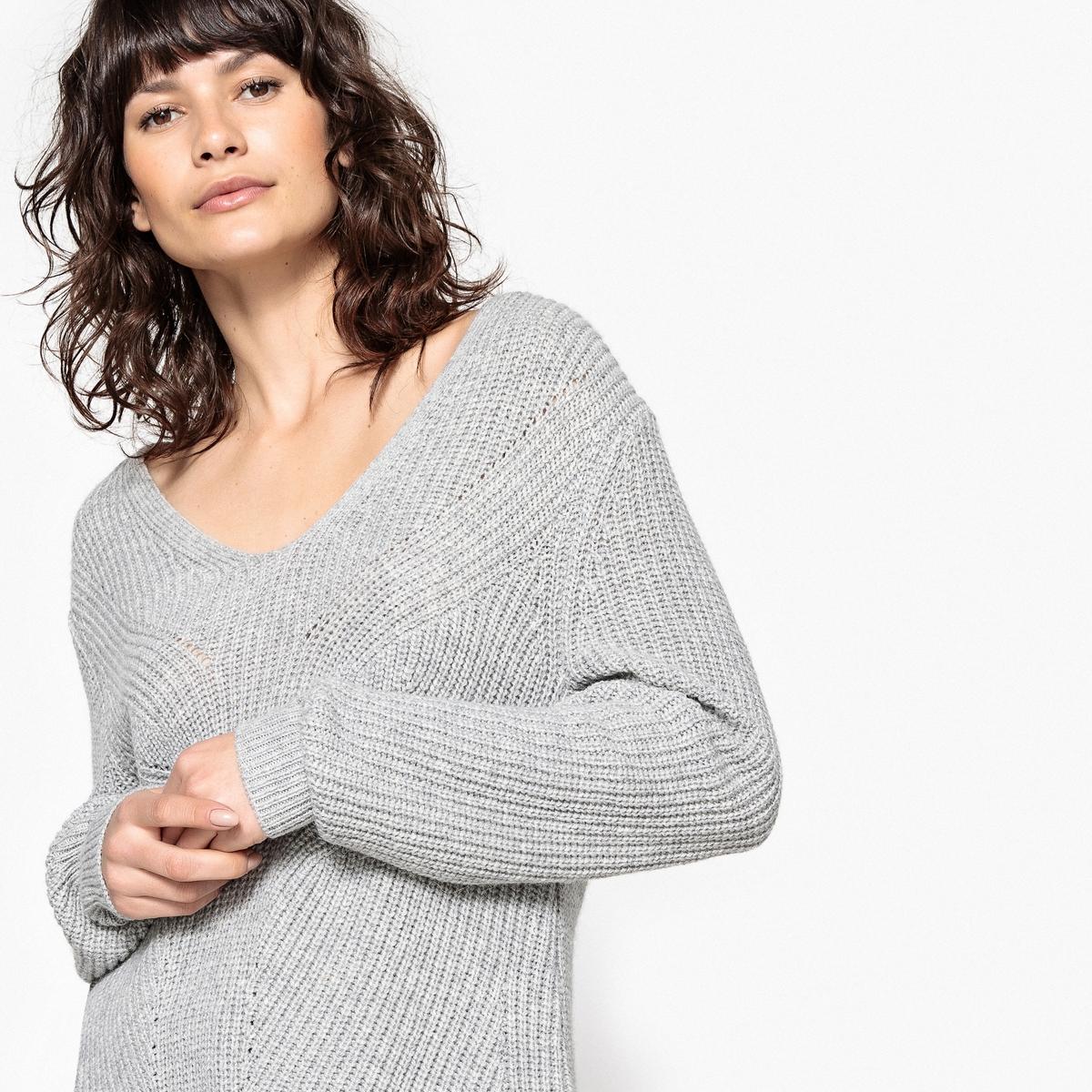 Пуловер-туника с V-образным вырезом из шерсти