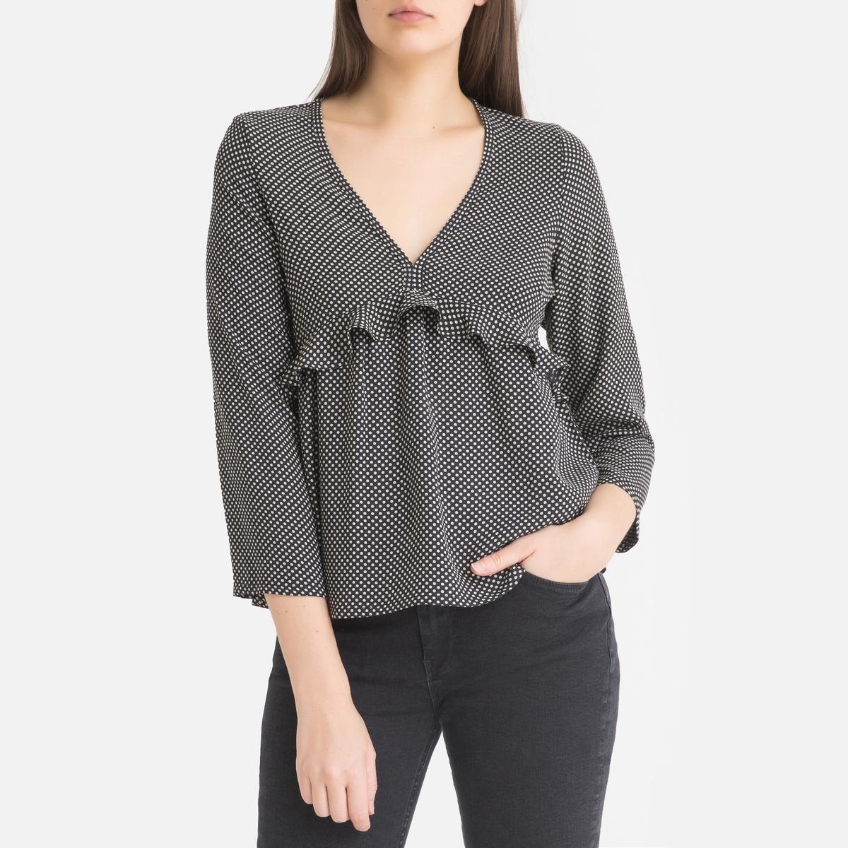 Блузка La Redoute С V-образным вырезом и длинными рукавами CRISIS S черный кардиган la redoute с длинными рукавами galinais s черный
