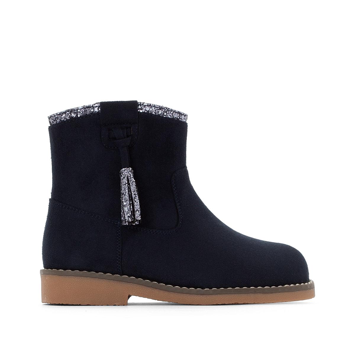 Boots cerniere, con paillettes e pompons 26-37