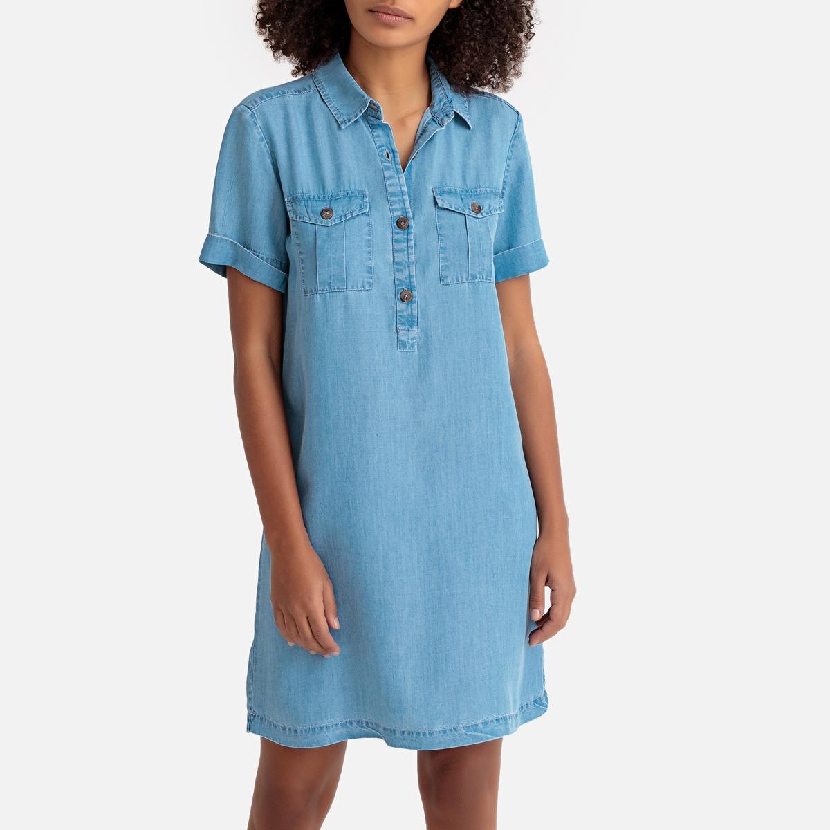 Платье La Redoute Короткое прямое с короткими рукавами из лиоцелла 42 (FR) - 48 (RUS) синий