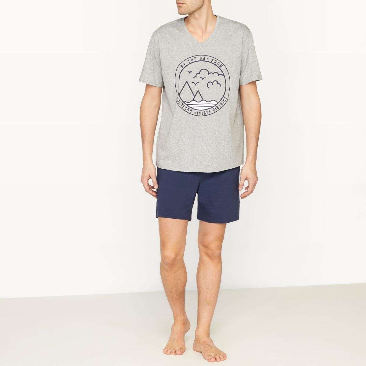 Пижама с шортамиСостав и описание :Материал : джерси, 100% хлопок.Уход :Машинная стирка при 40 °С.<br><br>Цвет: серый меланж + темно-синий<br>Размер: XL