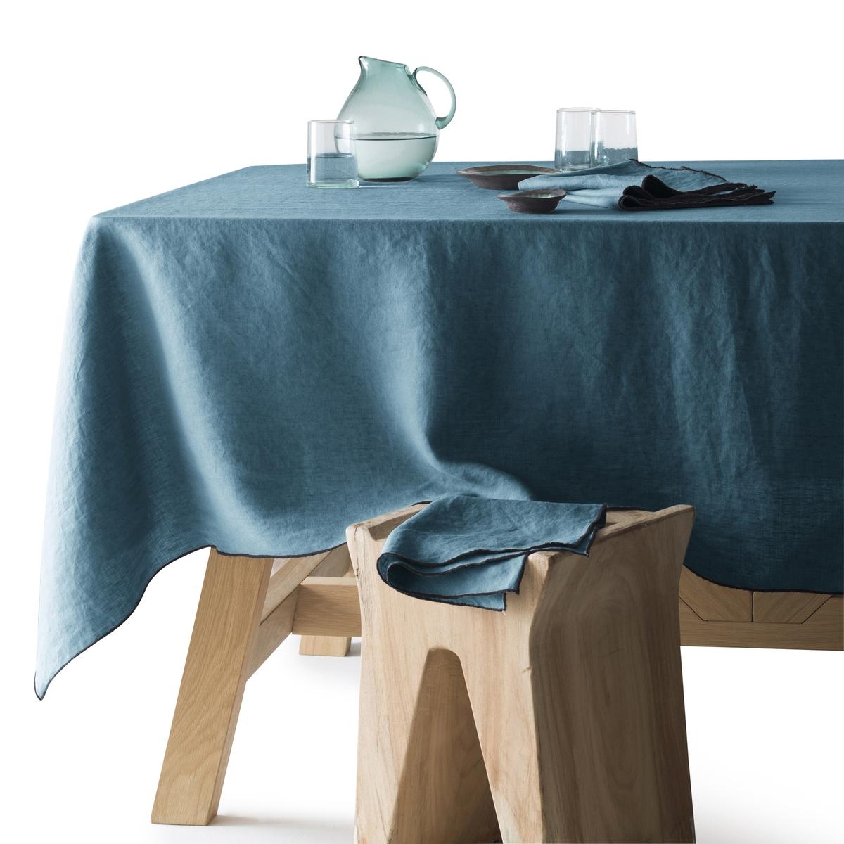 Скатерть LaRedoute Из 100 льна Suzy 180 x 350 см синий