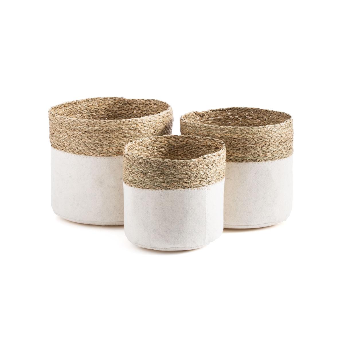 Комплект из корзин из La Redoute Фетра и плетения Filt единый размер бежевый ковер la redoute горизонтального плетения с рисунком цементная плитка iswik 120 x 170 см бежевый
