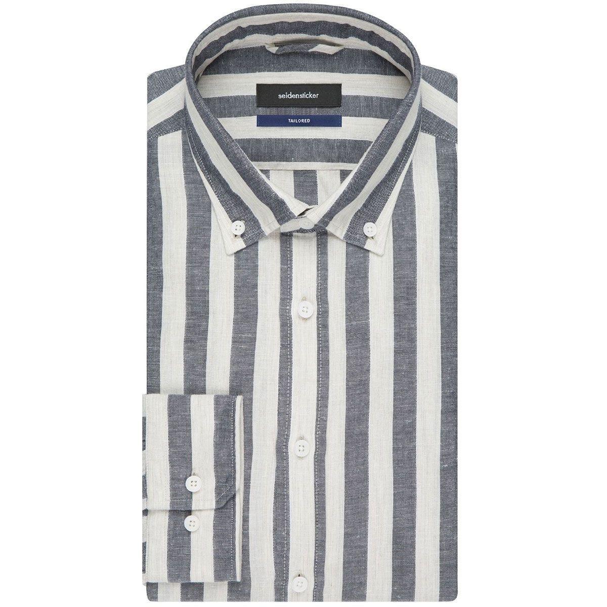 Chemise ajustée rayures col boutonné