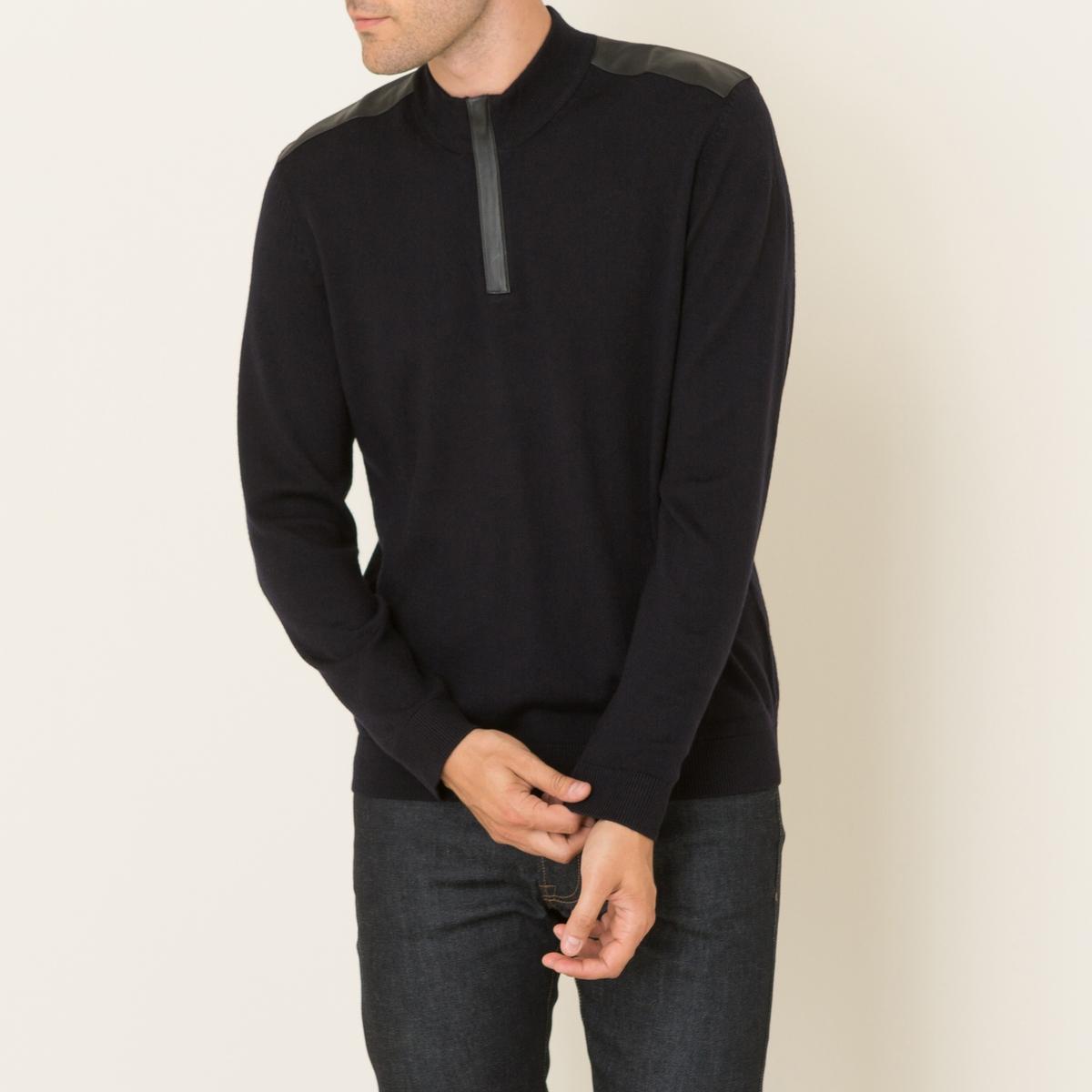 Пуловер из мериносовой шерсти и кожи от La Redoute