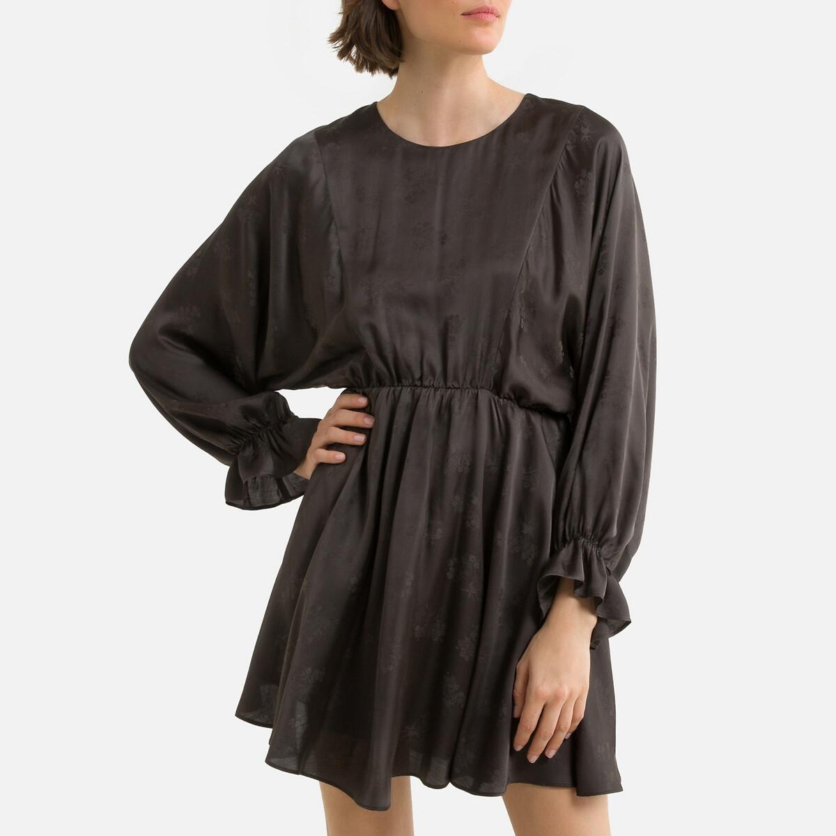 Платье LaRedoute Короткое расклешенное с жаккардовым рисунком S серый